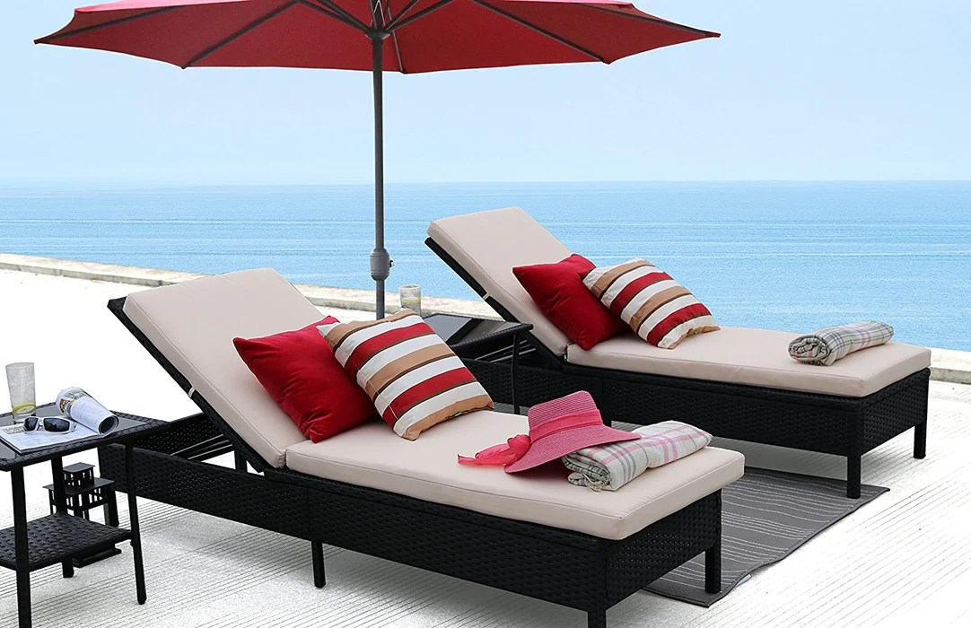 baner garden x15 modern outdoor pool patio furniture adjustable chaise lounge chair with cushions full