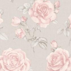 Rosa Floral Blush Pink Rose Flower on Grey Wallpaper by Belgravia 9766