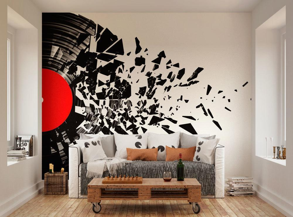 Glitter Animal Print Wallpaper Smashed Record Vinyl Mural Oh Popsi Paste The Wall Murals