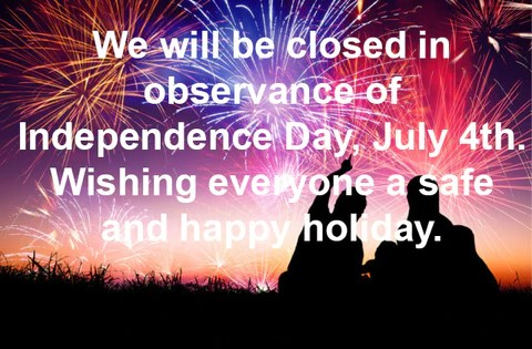 We will be closed in observance of Independence Day July 4th Wishing  CyberData Corporation