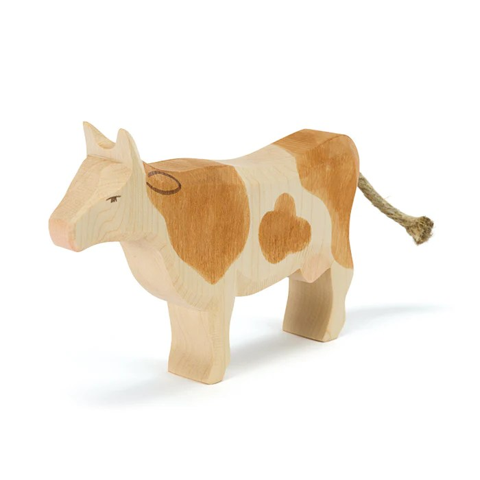 Cow Brown Standing Family Farm Ostheimer Wooden Toys