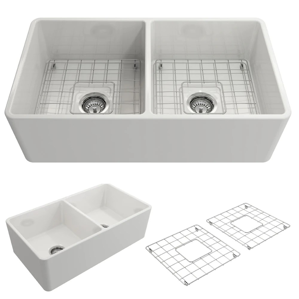 kitchen sink white comfort floor mats bocchi classico 33 fireclay farmhouse apron 50 double bowl
