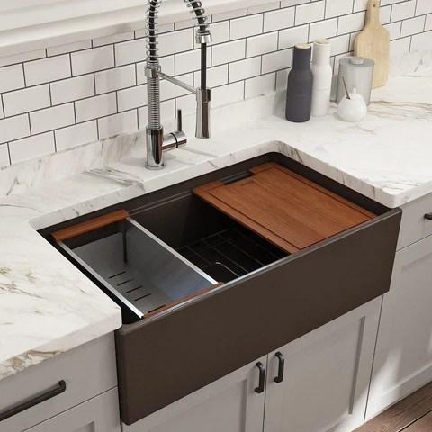 bocchi contempo 33 fireclay workstation farmhouse sink with accessories matte brown 1504 025 0120