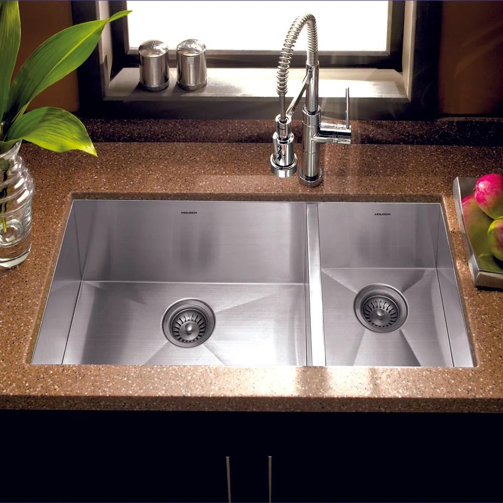houzer 33 stainless steel undermount 70 30 double bowl kitchen sink cto 3370sr