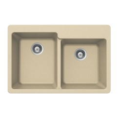 60 40 Kitchen Sink Paint Colors For Walls Houzer 33 Granite Topmount Biscuit The Double Bowl M