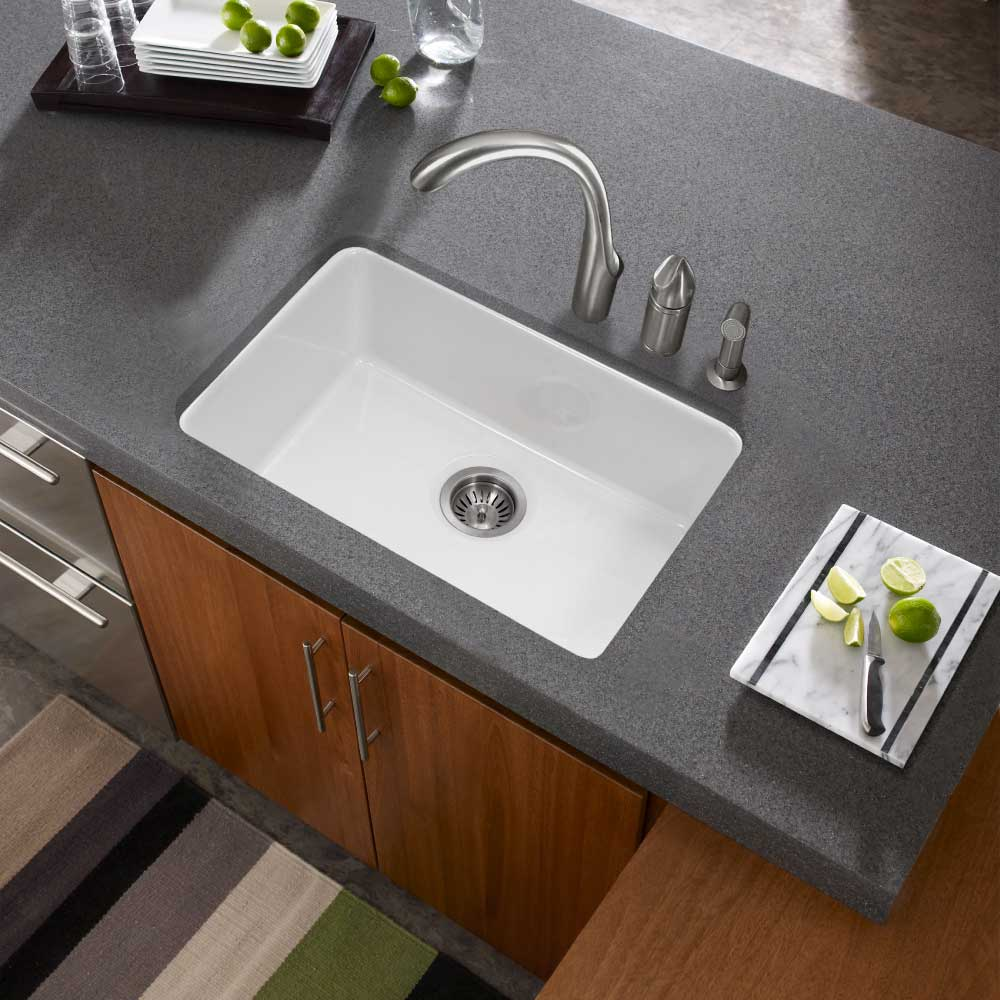 undermount single bowl kitchen sink base cabinet houzer 23 fireclay white ptu platus series
