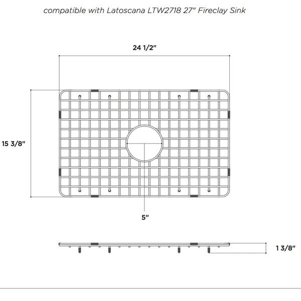 Latoscana Stainless Steel Grid For 27 Fireclay Farmhouse