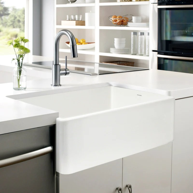 kitchen sink white clearance cabinets houzer 33 fireclay farmhouse apron ptg 4300 wh front single bowl