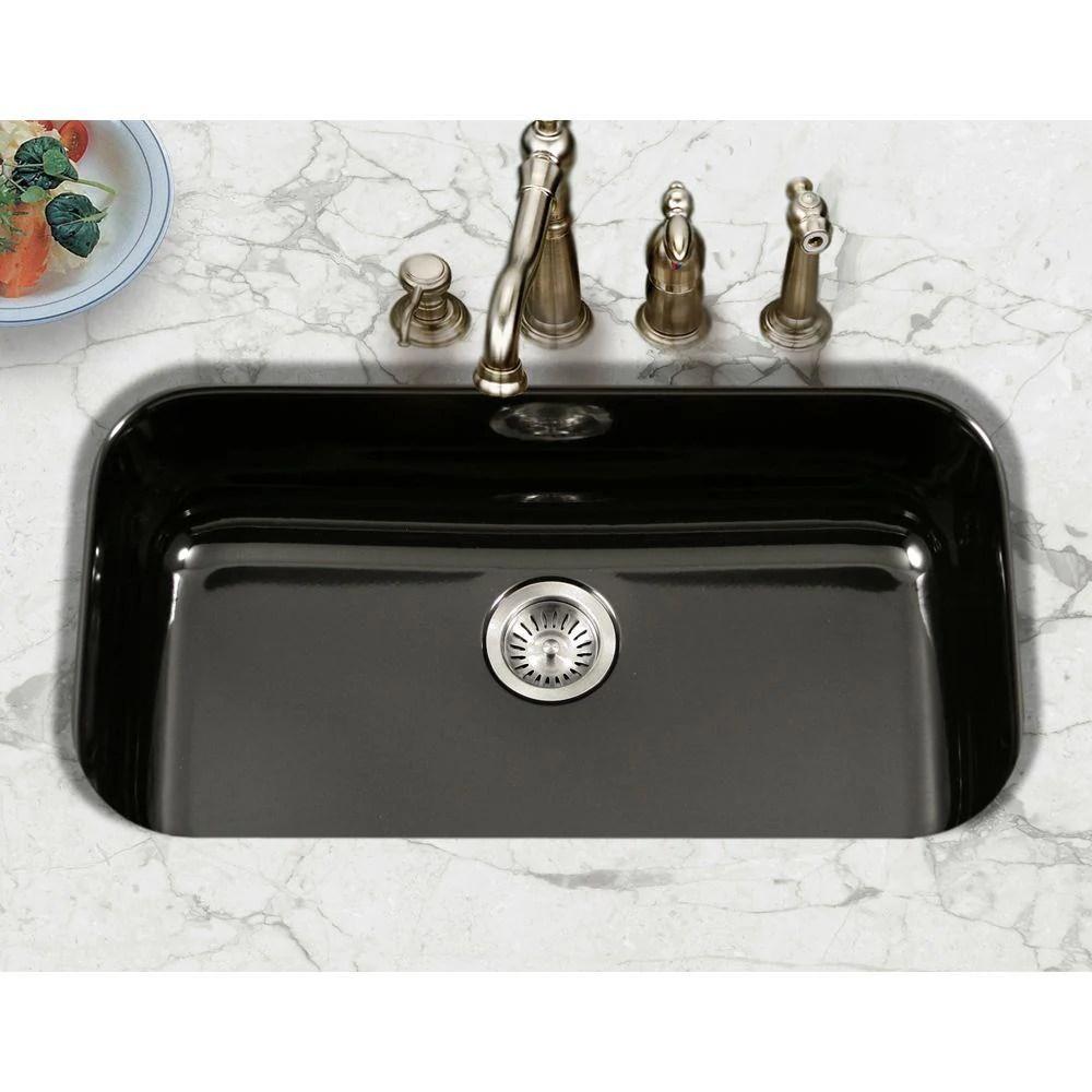 houzer 31 porcelain enamel steel undermount single bowl kitchen sink black pcg 3600 bl