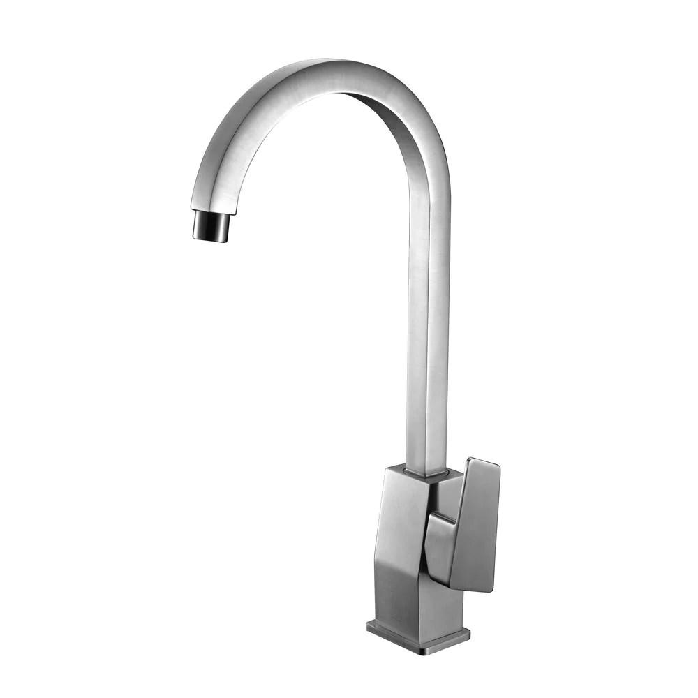 alfi brushed nickel gooseneck single hole bathroom faucet ab3470 bn