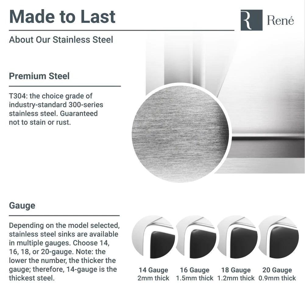rene 28 stainless steel kitchen sink 14 gauge r1 1035s 14