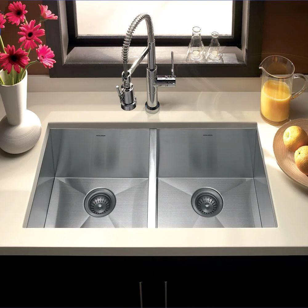 houzer 33 stainless steel undermount zero radius double bowl kitchen sink ctd 3350