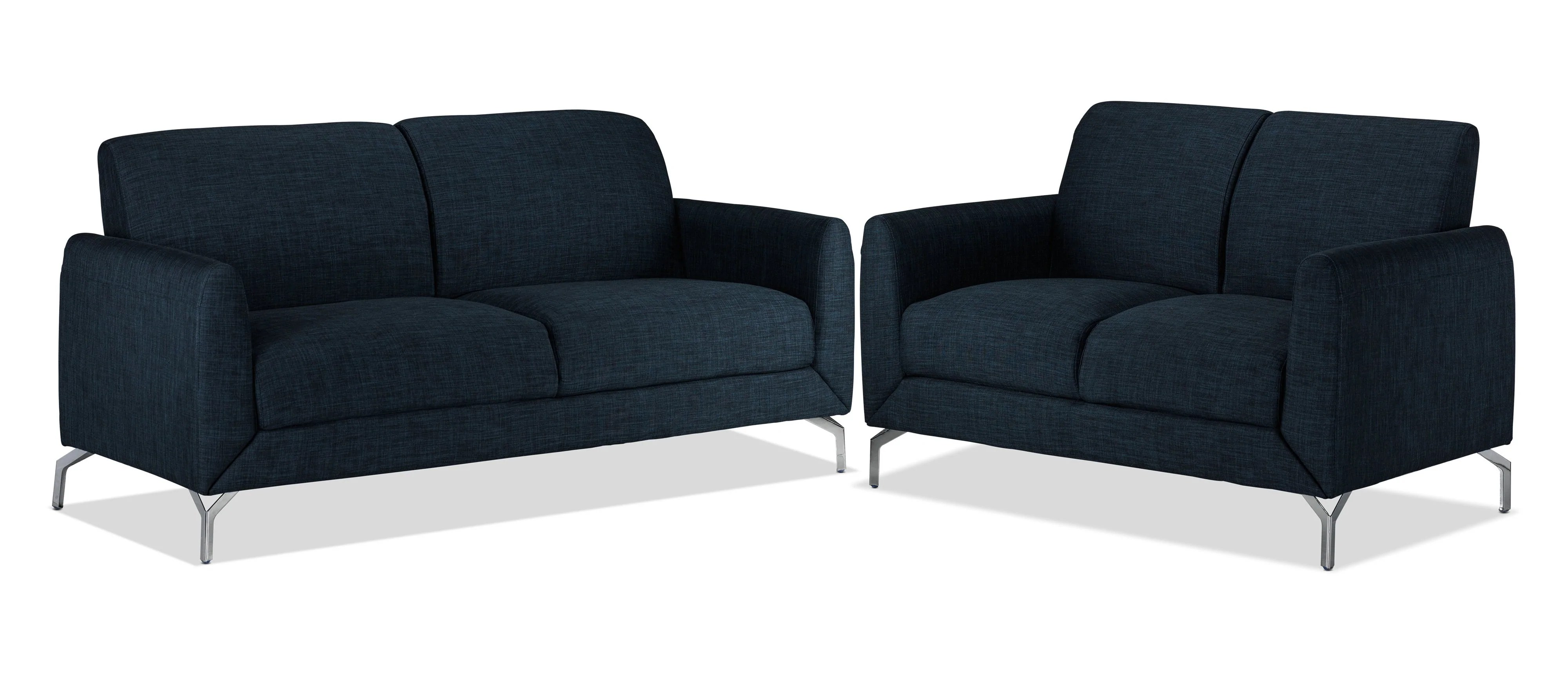 sofas dark blue narrow sofa tables ryan and loveseat set leon s recently viewed items