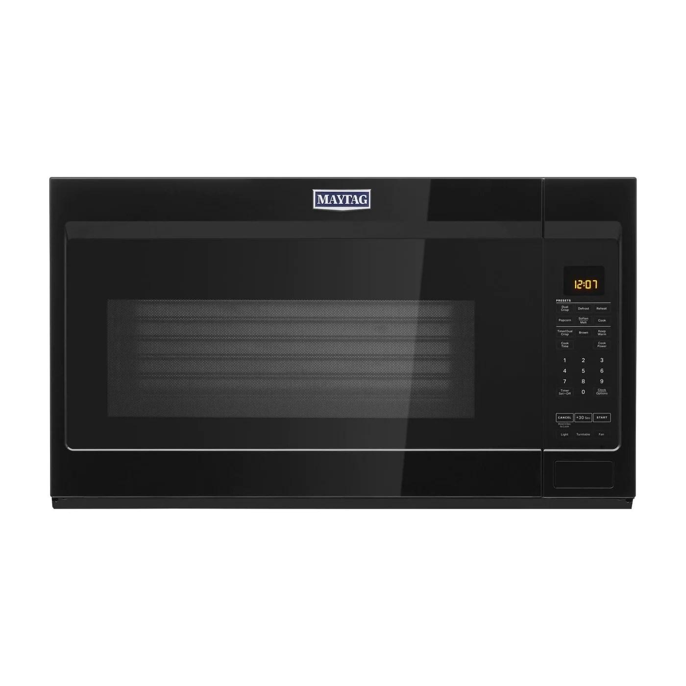 maytag black over the range microwave 1 9 cu ft ymmv4207jb