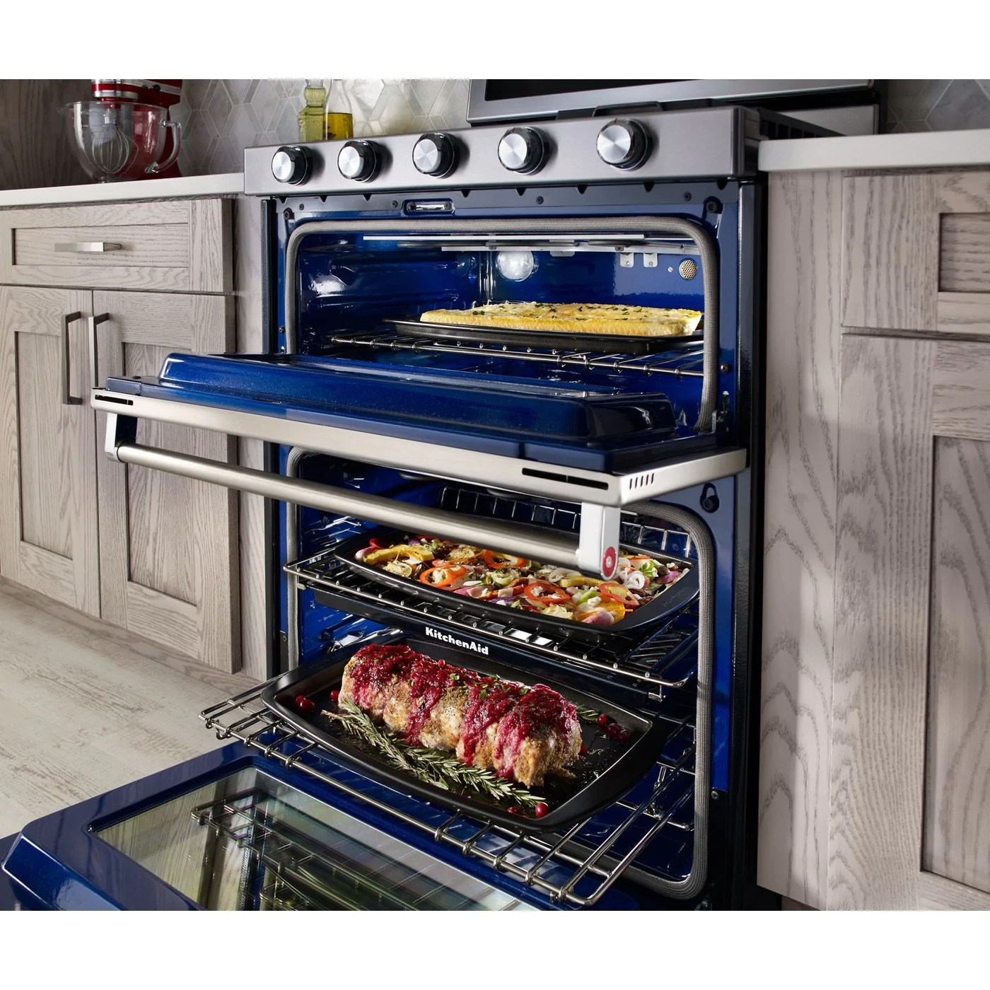 kitchenaid stainless steel freestanding double oven convection gas range 6 0 cu ft kfgd500ess