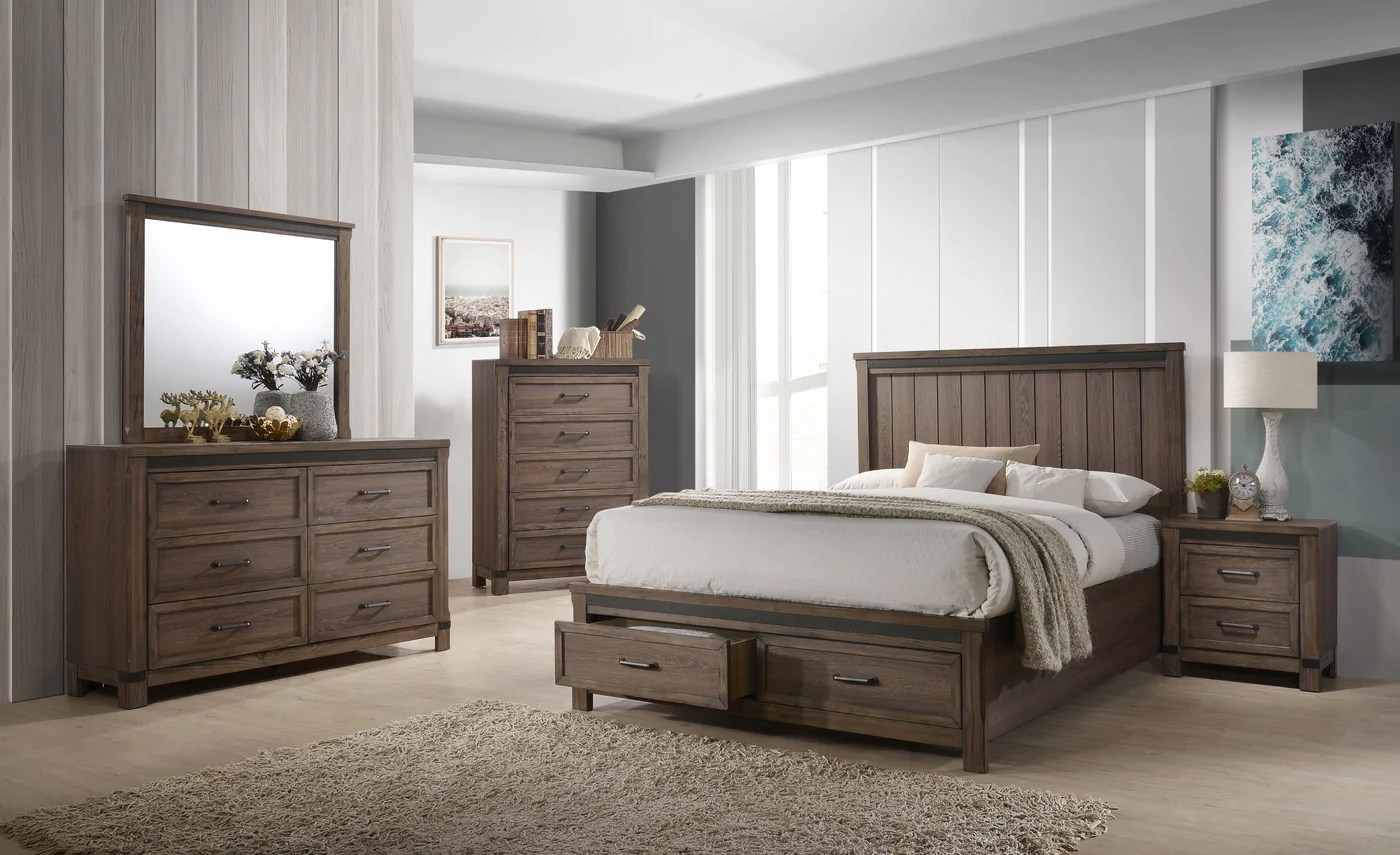 rossco 6 piece queen bedroom set rustic oak