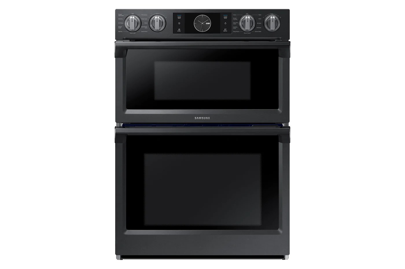 samsung black stainless steel 30 inch wall oven 5 1 cu ft with microwave 1 9 cu ft nq70m7770dg aa
