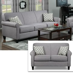 Furniture Stores Living Room Sofa Bed For Small Packages Leon S Ariel And Loveseat Set Silver Grey