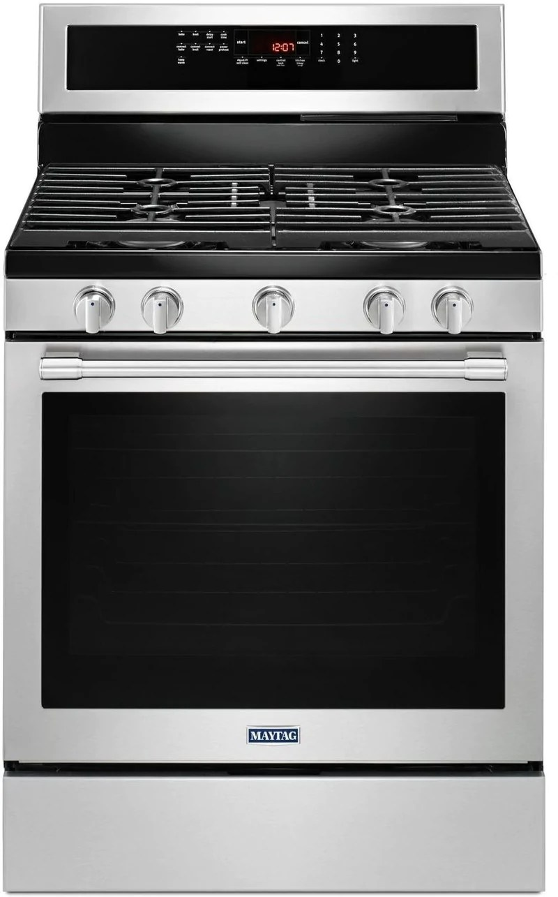 kitchen stove gas new countertops ranges leon s maytag stainless steel freestanding true convection range 5 8 cu ft