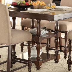 Kitchen Table Home Depot Undermount Sink Tables Leon S Benwick Pub Height Dining Dark Cherry