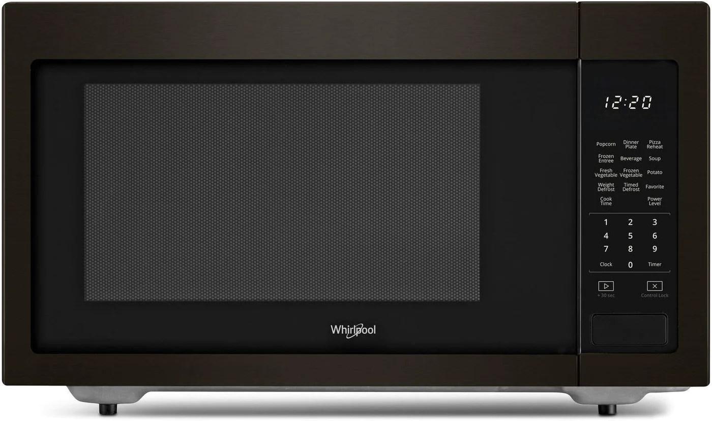 whirlpool black stainless steel countertop microwave 1 6 cu ft ywmc30516hv