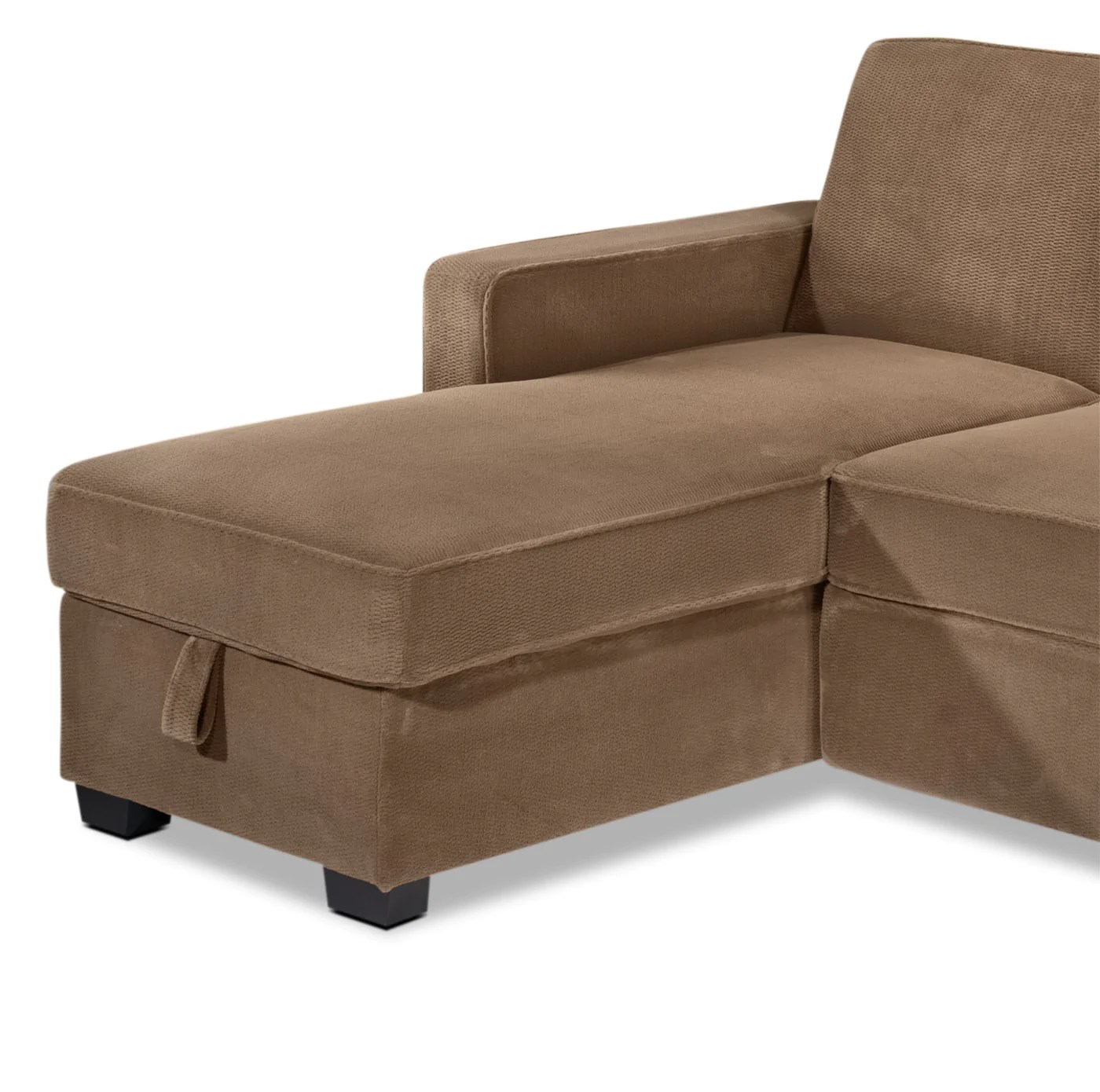 sofa bed and chaise sectional with sleeper chaela pop up light brown leon s previous next