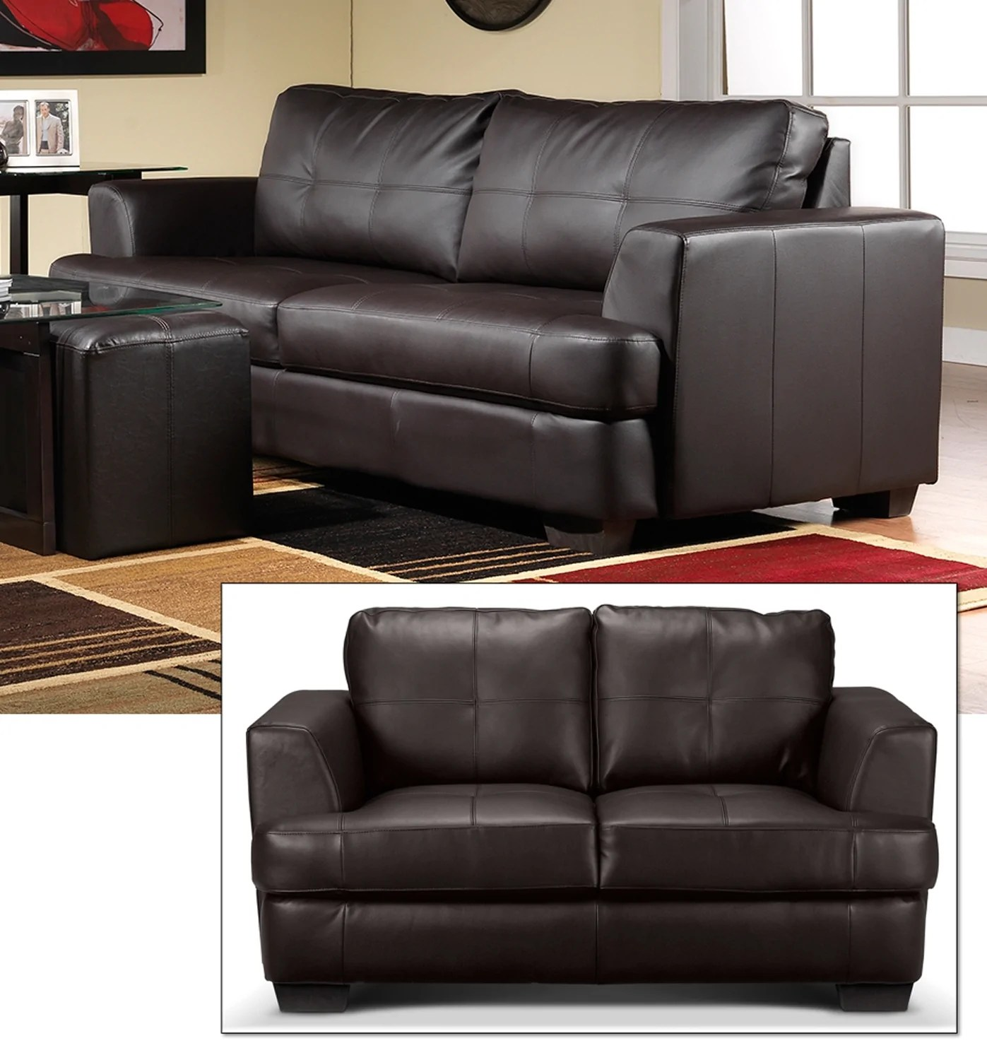 sofa and loveseat set up slipcovers t cushion 2 piece caitlyn dark chocolate leon s