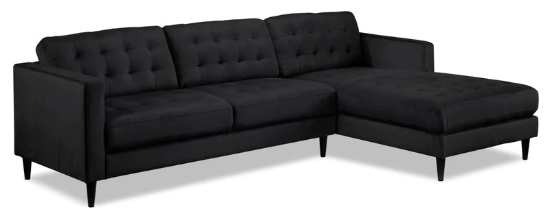 emma tufted sofa costco leather corner sectionals leon s paragon 2 piece sectional with right facing chaise charcoal