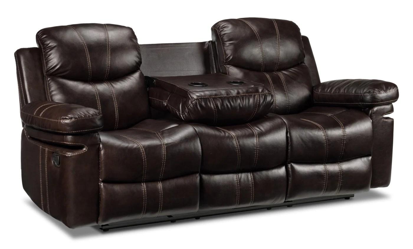 reclining sofa leather brown bella okc barcelona ii dark leon s previous next