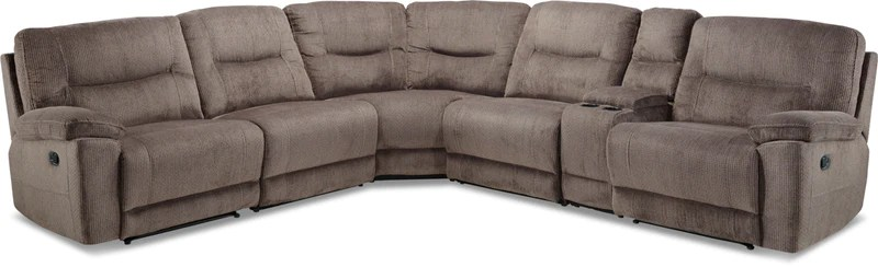 harper fabric 6 piece modular sectional sofa rv camper bed sectionals leon s colorado reclining grey