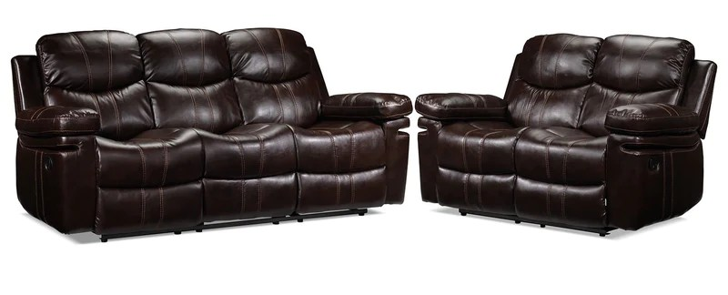 living room sofa and loveseat sets storage solutions for toys in packages leon s barcelona ii reclining set dark brown