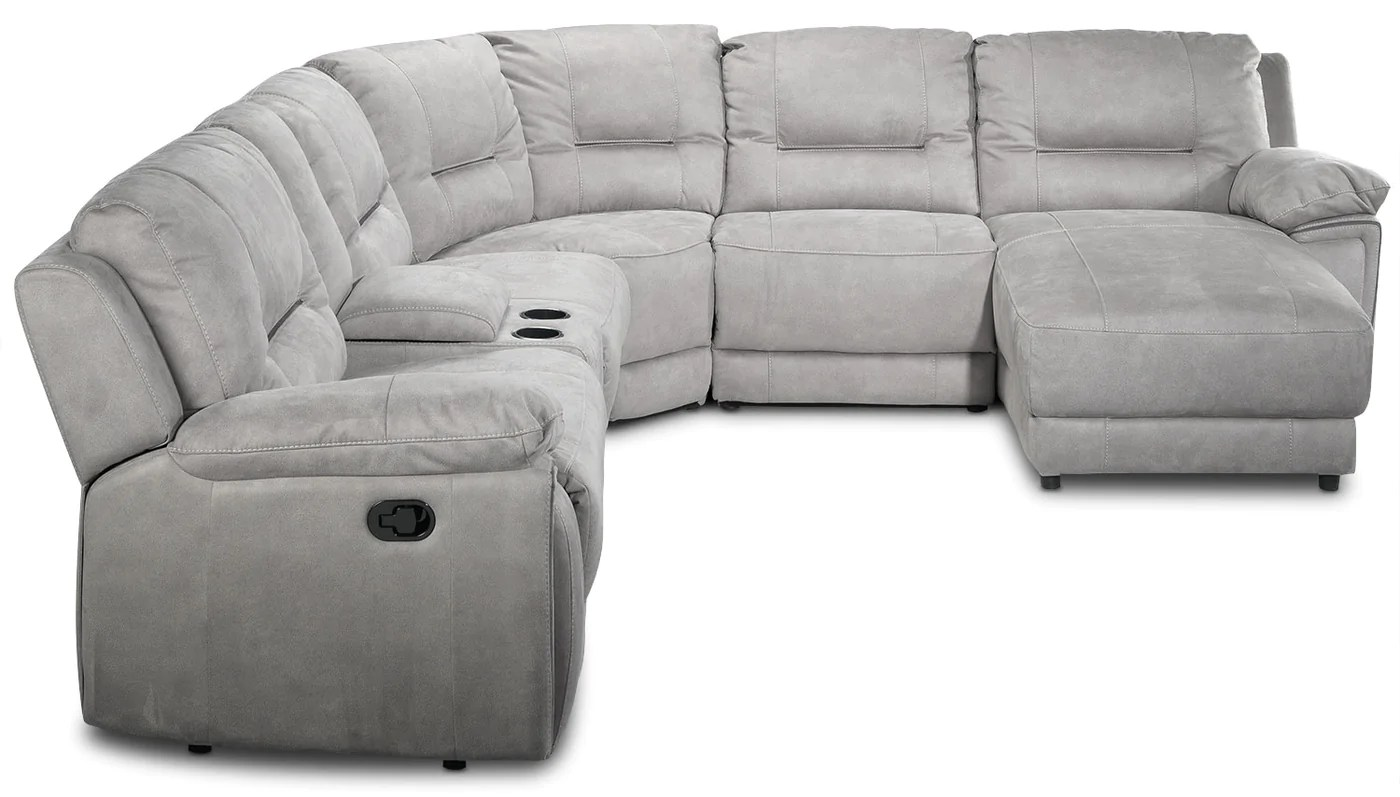 sofa theater pasadena l shaped bed leather 6 piece reclining sectional with right facing