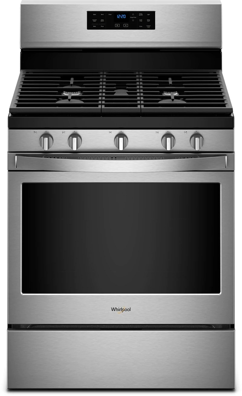 kitchen ranges gas top rated appliances leon s whirlpool stainless steel freestanding convection range 5 0 cu ft wfg550s0hz