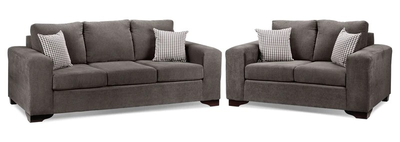 living room furnitue rent to own sets packages leon s fava 2 pc package w loveseat grey