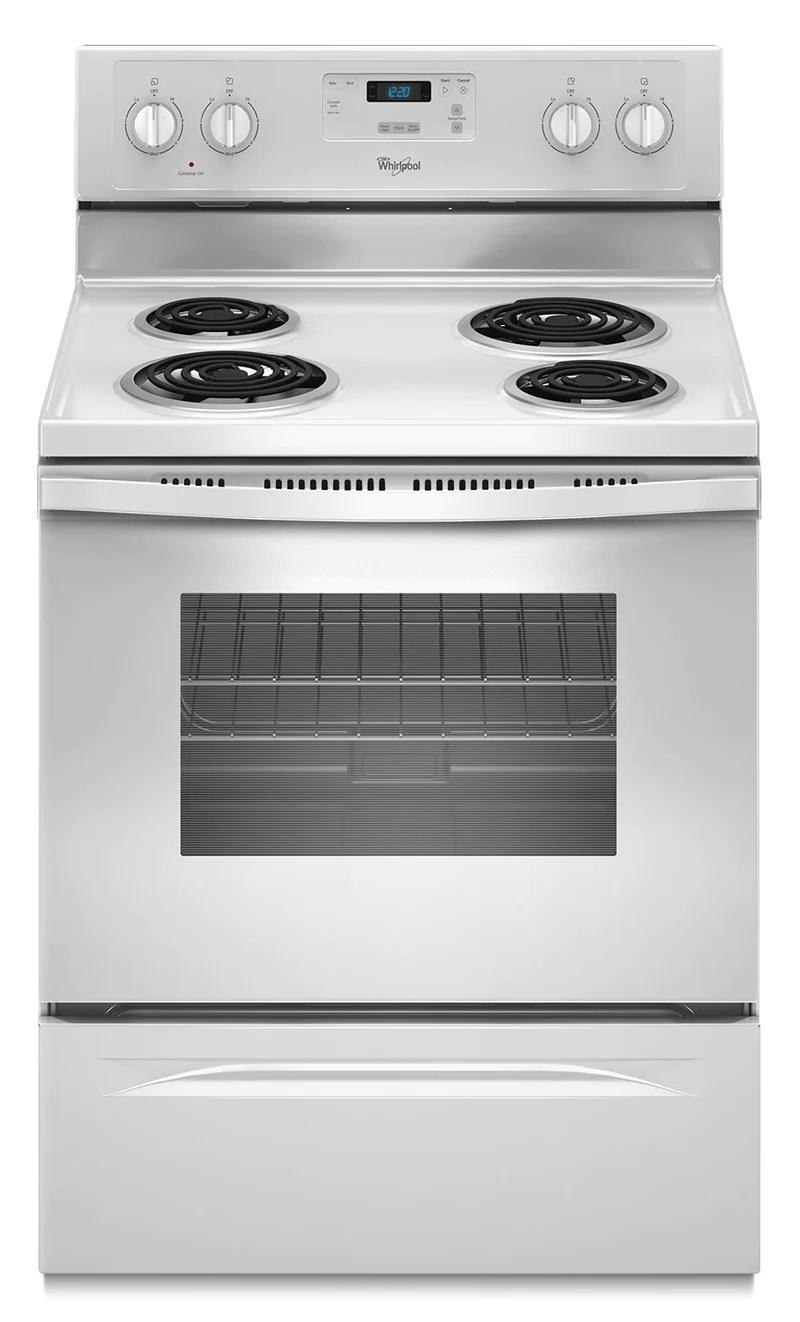 kitchen stoves window exhaust fan ranges leon s whirlpool white freestanding electric range 4 8 cu ft ywfc150m0ew