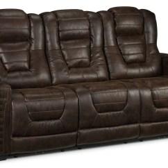 Reclining Sofa Leather Brown Sleeper Dakota Power Walnut Leon S Touch To Zoom