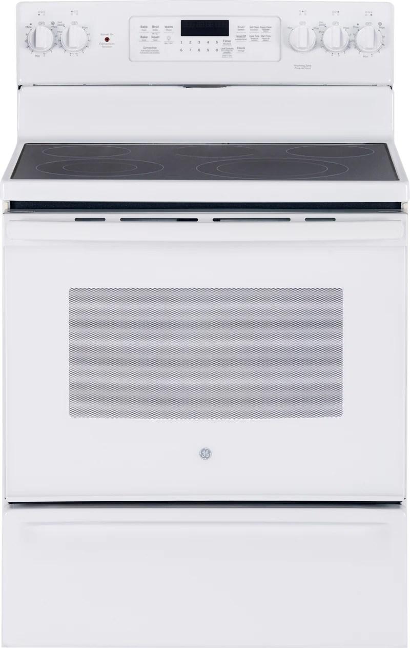 kitchen stoves grill ranges leon s ge white freestanding electric convection range 5 0 cu ft jcb840dkww