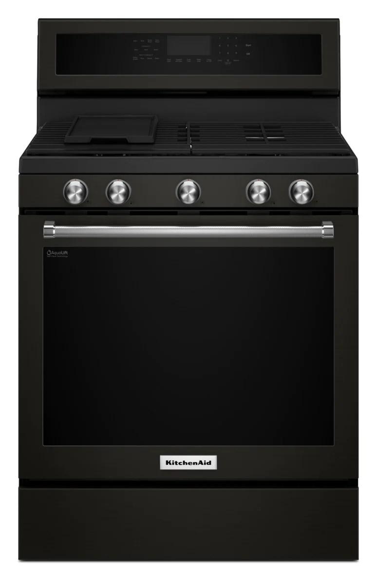 kitchen aid stove floor tile kitchenaid black stainless steel freestanding gas convection range 5 8 cu ft kfgg500ebs leon s