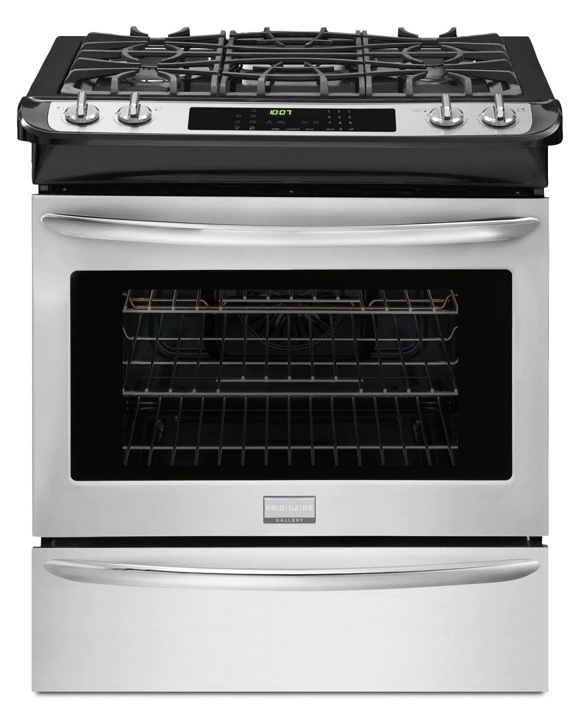 frigidaire gallery stainless steel slide in gas convection range 4 5 cu ft fggs3065pf open box