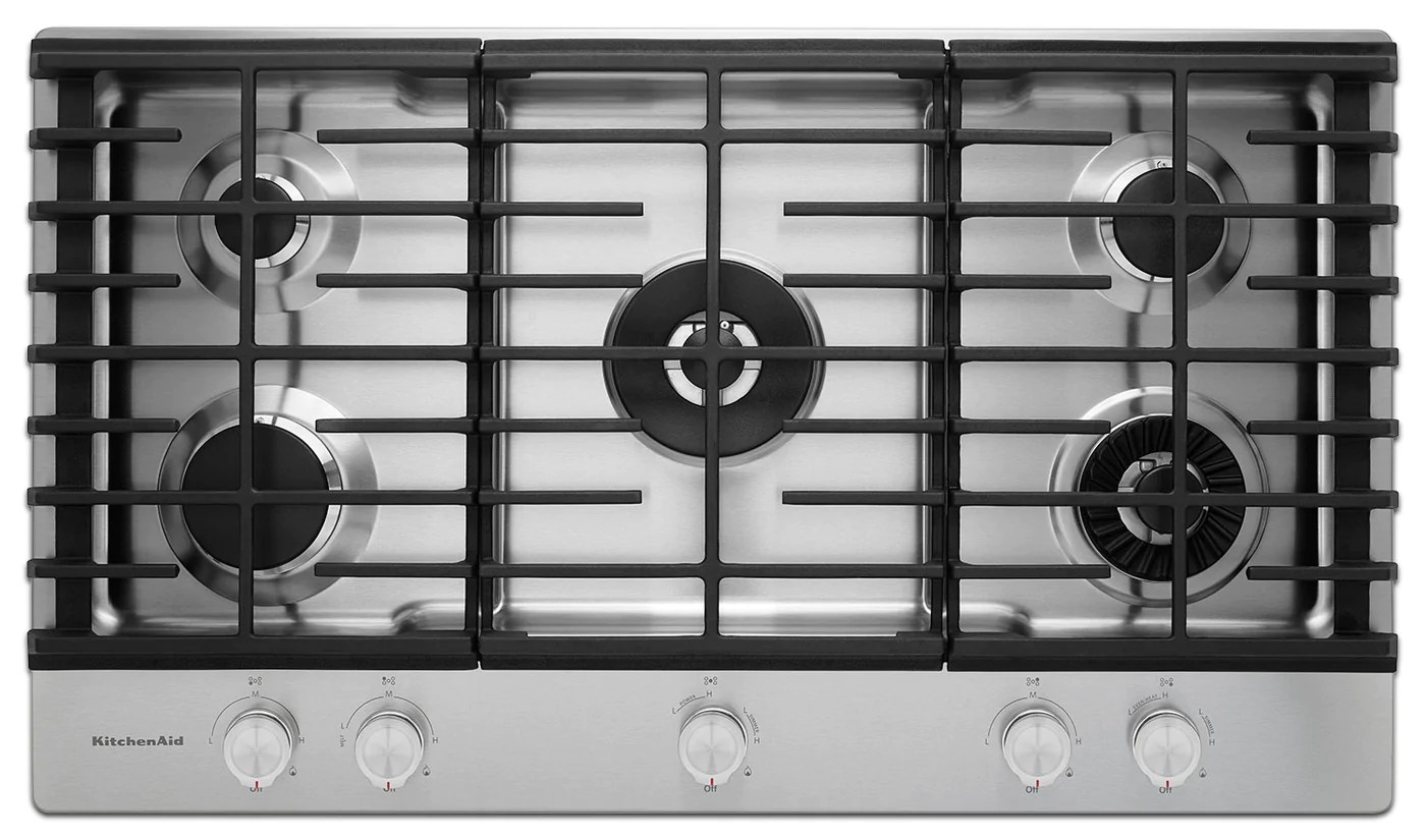 kitchen aid cooktop living spaces tables kitchenaid gas kcgs556ess leon s touch to zoom