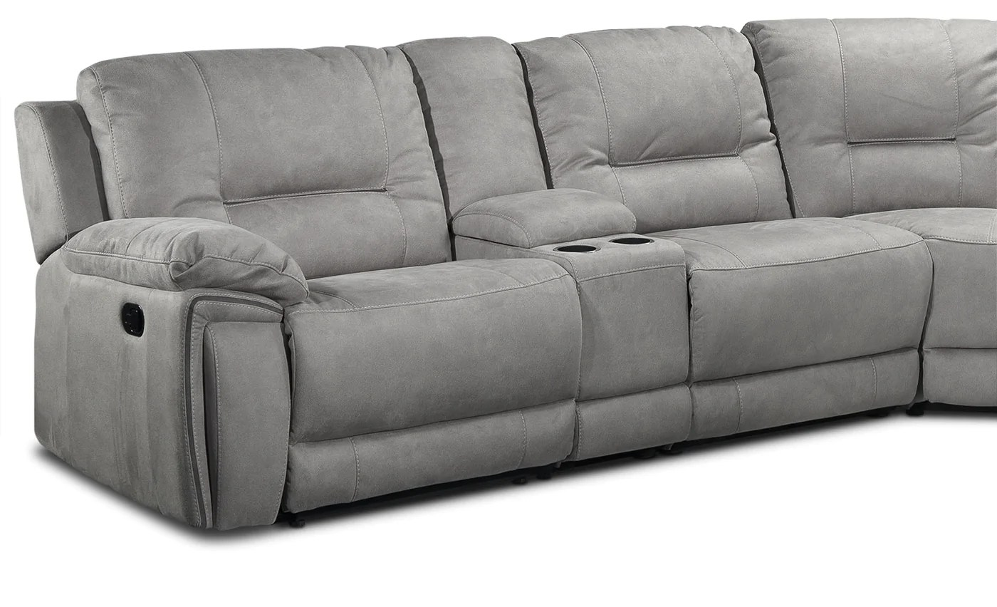 pasadena 6 piece reclining sectional with right facing chaise light grey