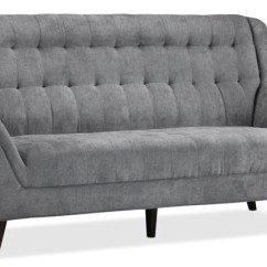 French Linen Tufted Sofa Small Sectional Sofas Leon S Riann Grey