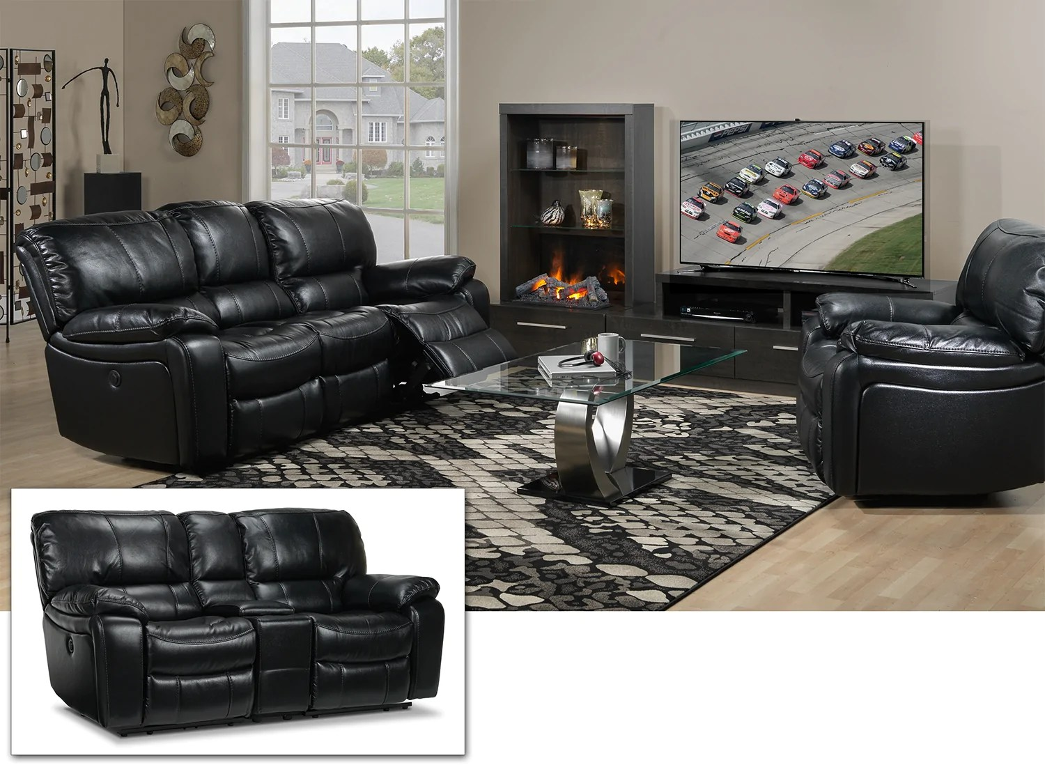 black reclining sofa with console tan brown leather corner santorini power loveseat and recently viewed items