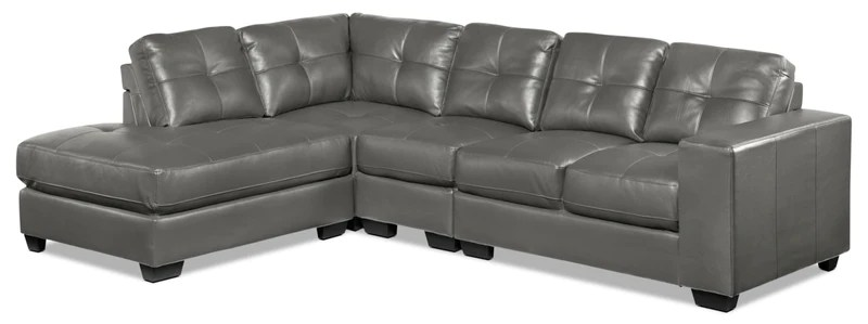 dark gray leather living room furniture yellow and ideas sectionals leon s meldrid 4 piece sectional with left facing chaise grey