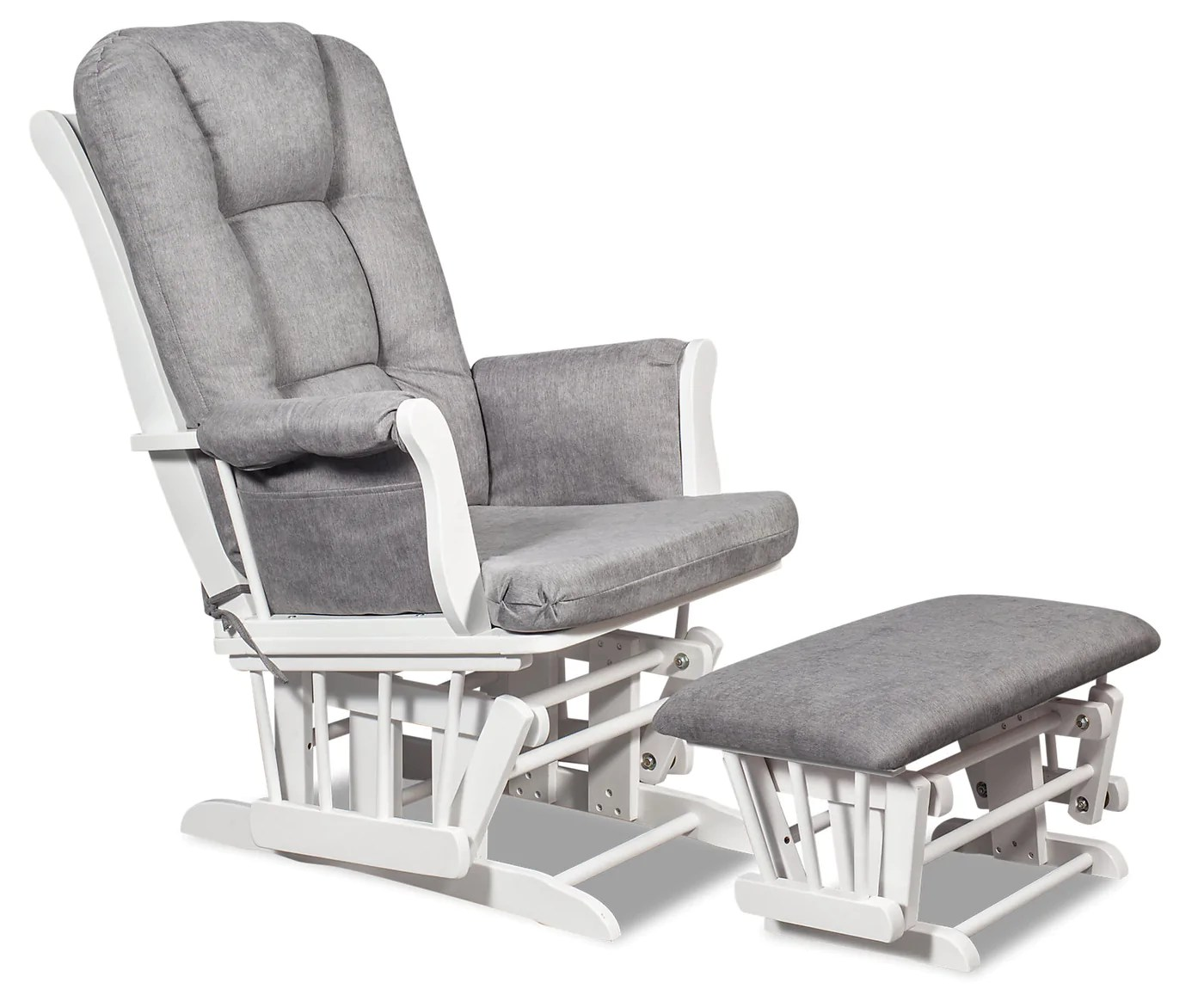 Gliding Chair Anita Microsuede Gliding Chair With Ottoman White And Grey