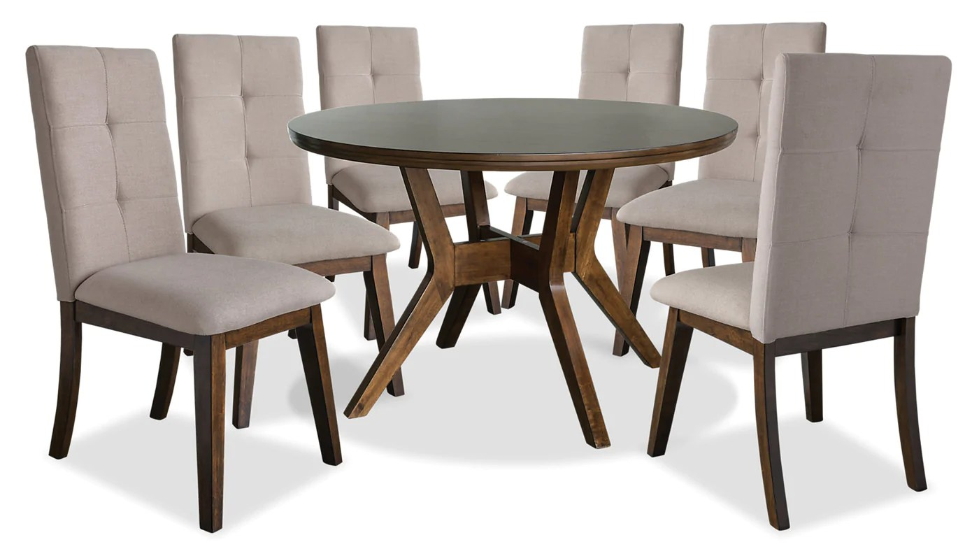 Hover Round Chairs Chelsea 7 Piece Round Dining Table Package With Beige Chairs