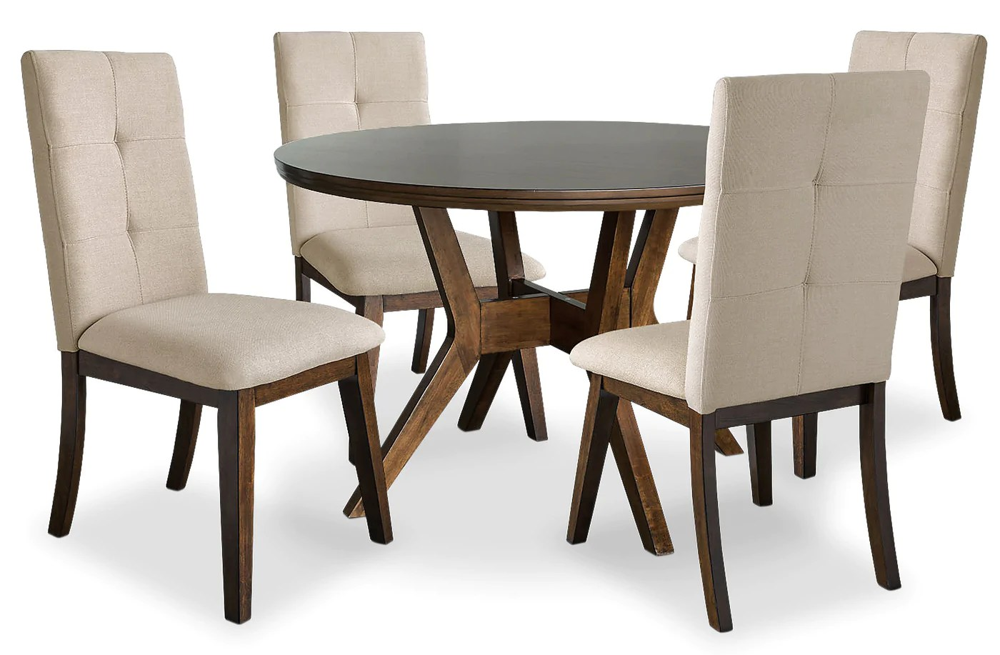Chelsea 5 Piece Round Dining Table Package With Beige Chairs The Brick