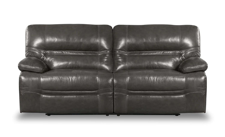 grey power reclining sofa seda sintetica crew genuine leather beach the brick greysofa a inclinaison electrique en cuir veritable gris plage