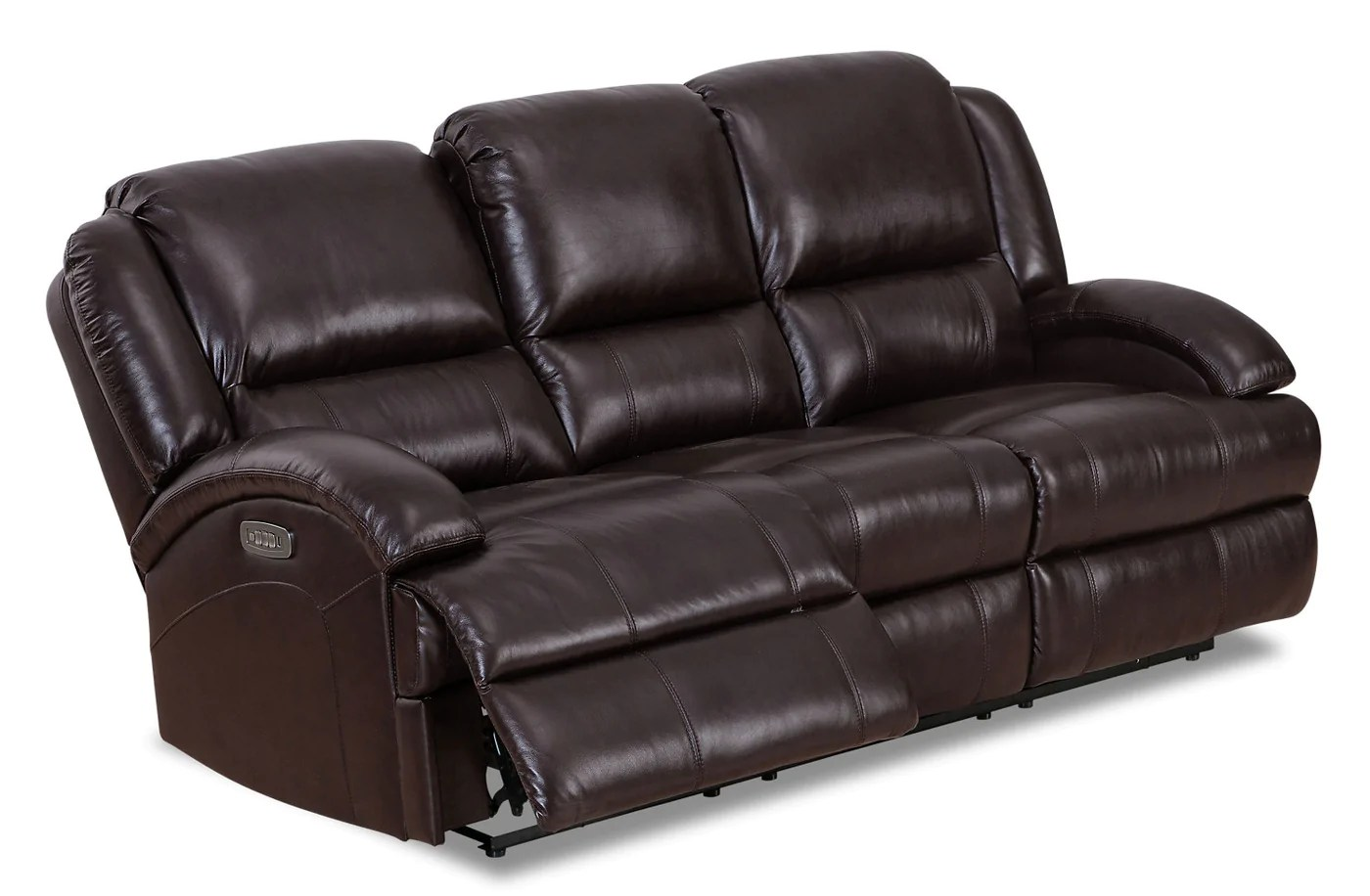 Giovanni Genuine Leather Power Reclining Sofa With Lumbar - . Brick
