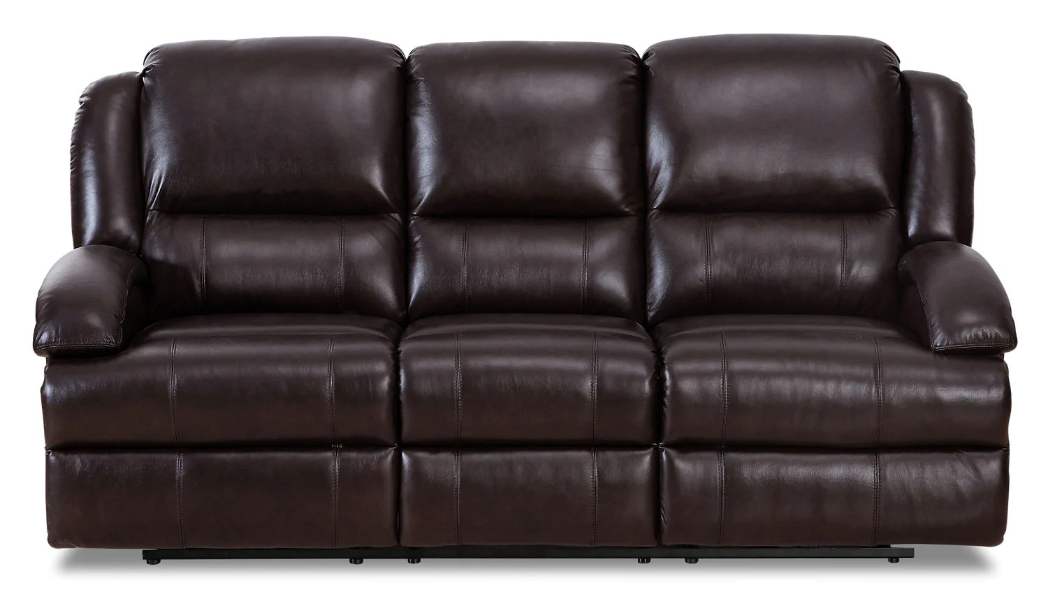 reclining sofa leather brown tight back sectional with chaise giovanni genuine power lumbar d dark brownsofa a inclinaison electrique en cuir veritable et zone lombaire